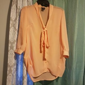 NWOT Peach sheer tie front blouse